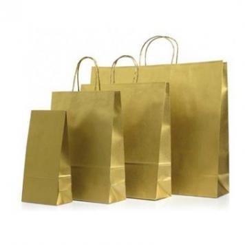 Пакет бумажный, с золотым напылением.